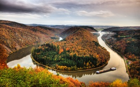 Картинка осень, лес, горы, река, Германия, изгиб, панорама