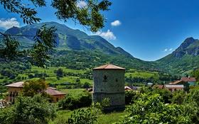 Картинка зелень, лето, небо, солнце, горы, поля, долина