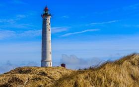 Обои небо, маяк, Дания, Midtjylland, Klegod