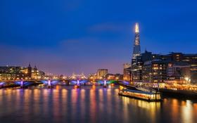 Обои ночь, мост, огни, река, Англия, Лондон, башня