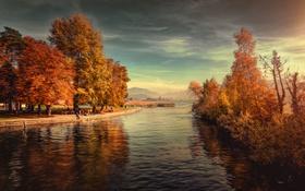 Обои деревья, пейзаж, горы, озеро, парк, Швейцария