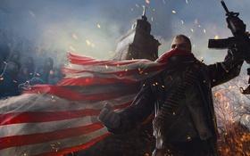 Обои война, башня, флаг, воин, арт, автомат, Homefront: The Revolution