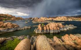 Обои гроза, тучи, озеро, камни, молния, США, Arizona