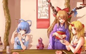 Обои девочки, игра, аниме, арт, кафе, То:хо, Touhou Project