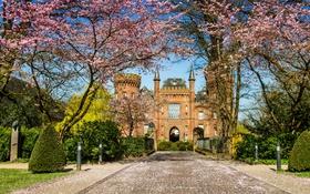 Обои деревья, дизайн, замок, забор, Германия, сад, дорожка