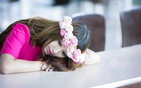 Картинка девушка, цветы, азиатка, венок