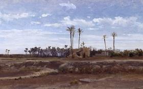 Обои деревья, пейзаж, картина, Карлос де Хаэс, Пальмовый Лес в Эльче