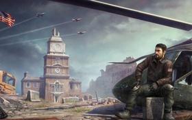 Обои город, солдат, вертолет, мужчина, революция, Homefront: The Revolution