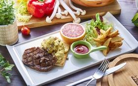 Обои грибы, мясо, овощи, соус, грейпфрут, салат, картофель