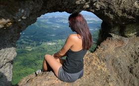 Обои панорама, лицо, волосы, шорты, спина, девушка, лето