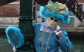 Обои маска, костюм, Венеция, наряд, карнавал, дама