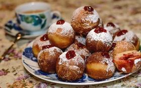 Обои сладость, пончики, десерт, джем