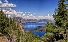 Картинка небо, облака, деревья, горы, озеро, камни, скалы