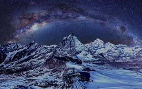 Обои Milkyway, Composite, Nightscape, Matterhorn, Glacier, Valley, Zermatt