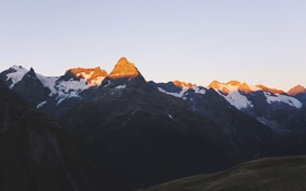 Обои солнце, снег, горы