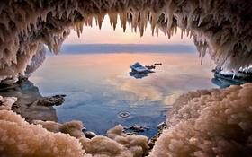 Обои кристаллы, пещера, соль, Иордания, Мертвое море