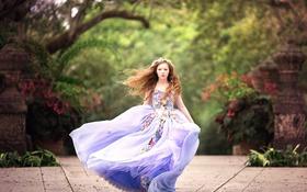 Обои платье, девочка, Wind Blown
