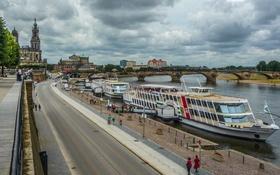 Обои мост, река, корабль, Германия, Дрезден, Эльба, набережная