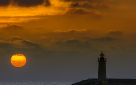 Обои море, ночь, луна, маяк