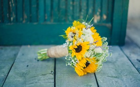 Обои цветы, желтые, лепестки, свадебный букет