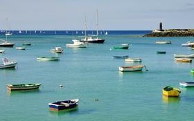 Обои море, лодка, маяк, бухта, яхта