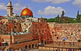 Обои Израиль, небо, Иерусалим, стена плача, хрАм