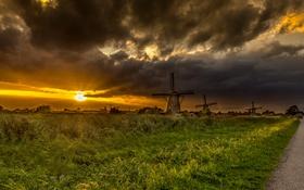 Обои дорога, поле, небо, трава, солнце, закат, тучи