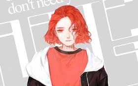 Картинка девушка, надпись, красные глаза, красные волосы