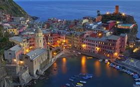 Картинка башня, дома, Италия, гавань, Вернацца, Чинкве-Терре, Лигурийское побережье