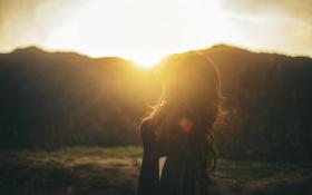 Картинка девушка, закат, профиль, локоны