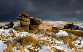 Обои снег, камни, холмы, Англия