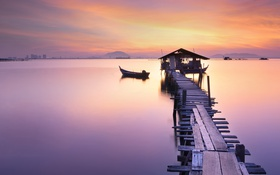 Картинка sea, sunset, dock, canoe