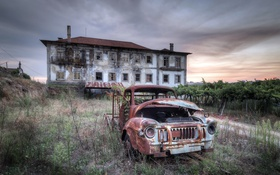Обои машина, закат, дом