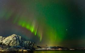 Обои небо, звезды, пейзаж, горы, озеро, северное сияние