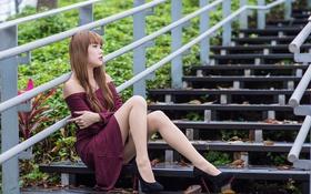Картинка лицо, волосы, платье, каблуки, ступеньки, ножки, азиатка