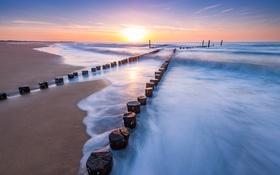 Картинка Sunset, Netherlands, Zeeuws-vlaanderen, Beach of Cadzand-bad