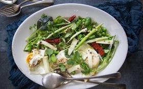 Обои яйцо, горох, овощи, салат
