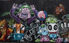 Обои стена, город, графити