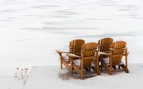 Обои зима, снег, стулья