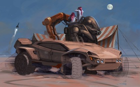 Обои дизайн, пустыня, ракета, палатка, Футуристический автомобиль