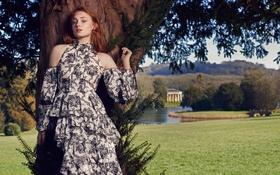 Картинка пейзаж, природа, дерево, платье, актриса, прическа, фотограф