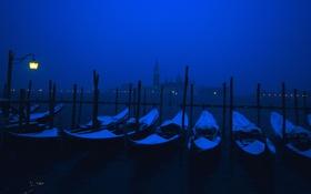 Обои ночь, огни, лодки, Италия, фонарь, Венеция, канал