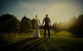 Обои платье, костюм, влюбленные, невеста, жених