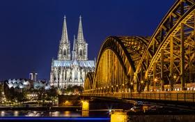 Обои ночь, мост, city, город, lights, огни, река