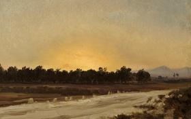 Картинка деревья, пейзаж, горы, картина, Карлос де Хаэс, Закат в Эльче