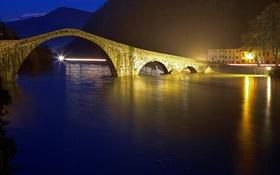 Обои горы, ночь, огни, Италия, Тоскана, Борго-а-Моццано, мост Марии Магдалины