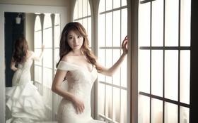Картинка девушка, отражение, платье, зеркало, азиатка, невеста