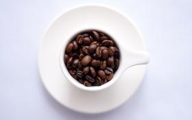 Обои кофе, кружка, кофейные зерна, блюдце