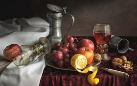 Картинка натюрморт, орехи, фрукты, виноград, бокалы, яблоко, лимон