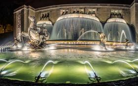 Обои ночь, огни, Португалия, Лиссабон, монументальный фонтан, светящийся фонтан